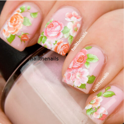 Nail WRAPS Nail Art Water Transfers Decals - Pink Roses - So beautiful 093G