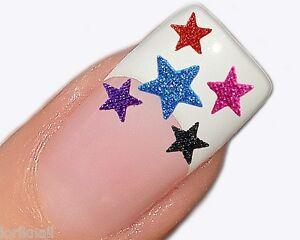 Nailart-Glitter-Sticker-Aufkleber-fuer-Nageldesign-Sterne-Farben-zur-Auswahl