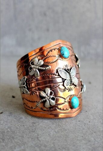 Native American Copper Bracelet Sterling and Turquoise Cuff with Dragon Flies in Jewelry & Watches, Ethnic, Regional & Tribal, Native American | eBay