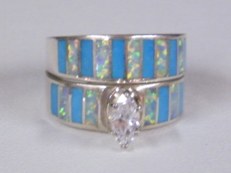 Native American Navajo Wedding Ring Turquoise Opal CZ eBay