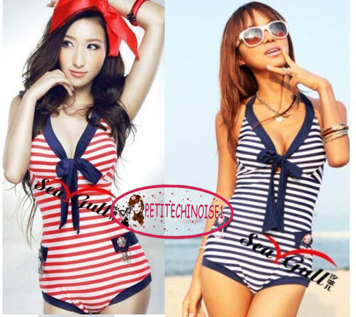 Nautical Marine Stripes One Piece Deep V Bow Knot Bathing Suit Swimsuit SW131