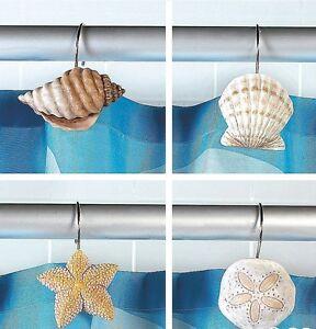 Nautical seashell decor shower curtain hooks new ebay