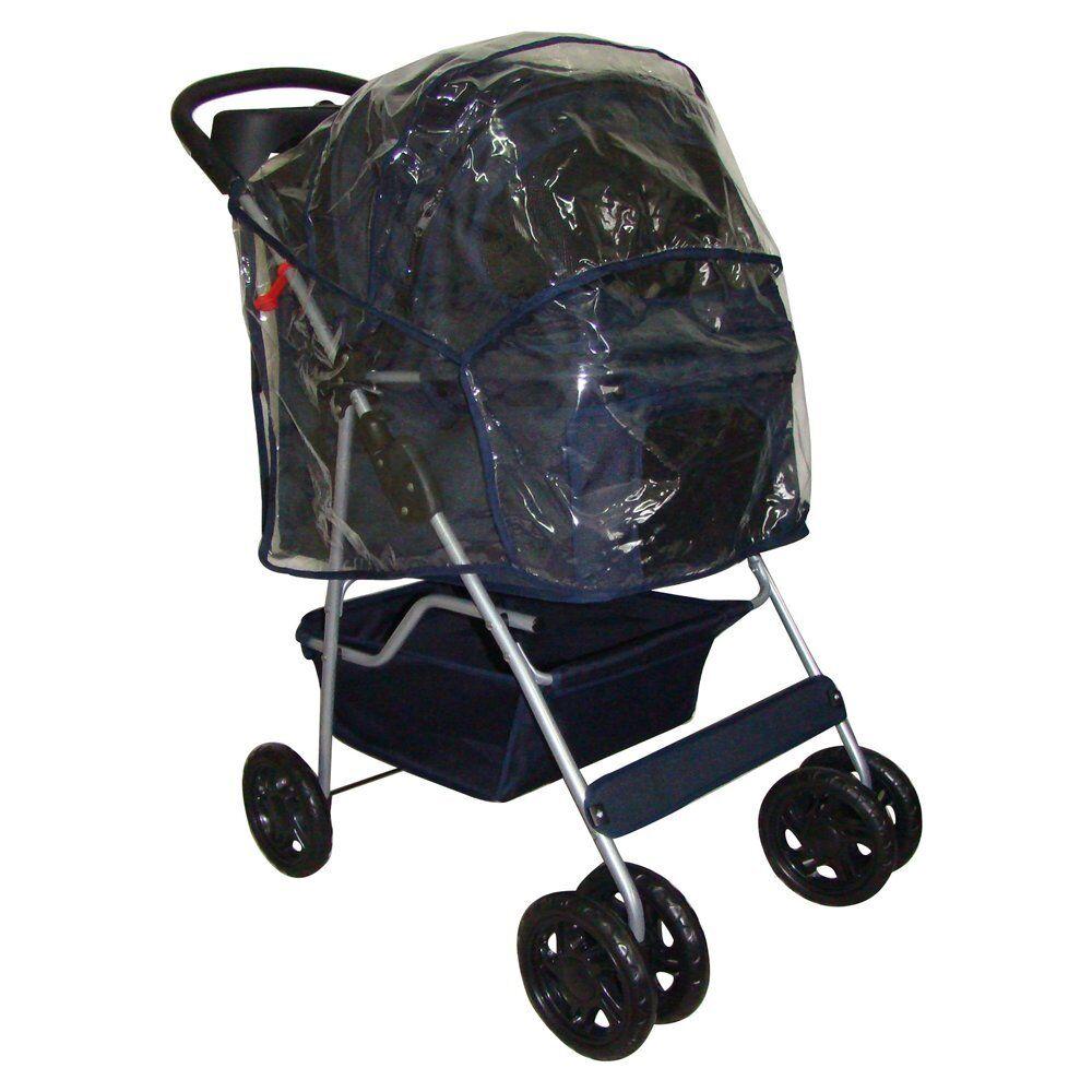 Blue Classic 4 Wheels Pet Dog Cat Stroller Carrier w Raincover
