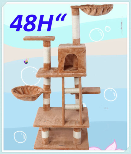 "『Neptune』48""H Brown Cat Tree Bed Toy House Condo Scratcher Pet Furniture Bed-21 in Pet Supplies, Cat Supplies, Furniture & Scratchers 