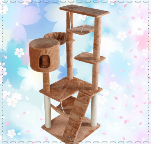 "『Neptune』55""H Brown Cat Tree Bed Toy House Condo Scratcher Pet Furniture Bed-22 in Pet Supplies, Cat Supplies, Furniture & Scratchers 