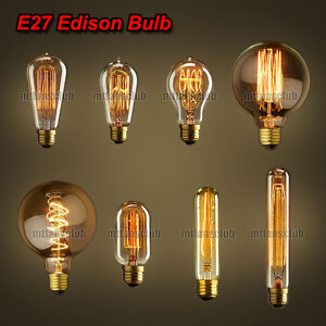 neu edison vintage gl hlampe gl hbirne lampe retro e27 110v 220v 40w 60w ebay. Black Bedroom Furniture Sets. Home Design Ideas