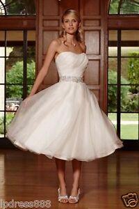 ... Organza Perlen Kurz Hochzeitskleid -Brautkleid-Gr :34-36-38-40-4 2-44