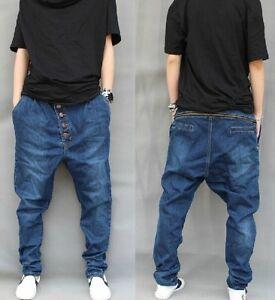 neu herren haremshose demin blau harem jeans l ssige hose. Black Bedroom Furniture Sets. Home Design Ideas