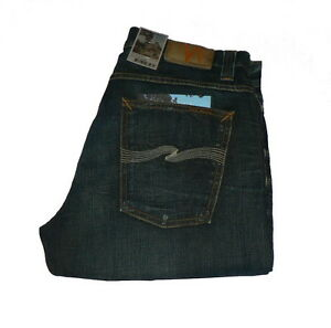 Neu-Nudie-Average-Joe-Straight-Jeans-W32-L32-Organic-Worn-Strikey-32-x-32-NWT