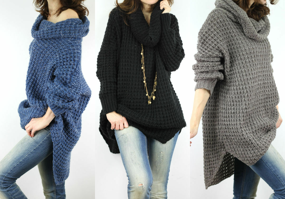 neu damen kuschelig pullover pulli strickjacke tunika oversize poncho s m lxl ebay. Black Bedroom Furniture Sets. Home Design Ideas