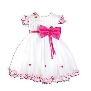 Neu-Party-Blumen-Maedchen-Taufe-Kleider-Elfenbein-Pink-Hot-3-6-9-12-18-Monate