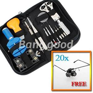 New-13pc-Watch-Repair-Tool-Kit-Zip-Case-Battery-Opener-Link-Remover-Screwdrivers