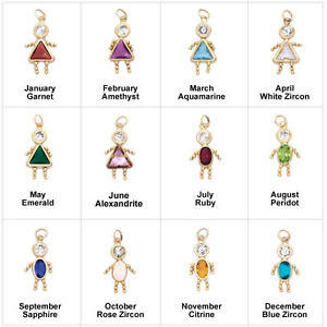 Gold birthstone boy or girl kids child pendant charm with stone ebay