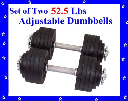 New 2 x 52.5 LBS A Set Adjustable Cast Iron Dumbbells Total 105 lbs Dumbbell in Sporting Goods, Exercise & Fitness, Gym, Workout & Yoga | eBay