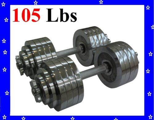 New 2 x 52.5 LBS A Set Adjustable Chrome Plated Dumbbells Total 105 lbs Dumbbell in Sporting Goods, Exercise & Fitness, Gym, Workout & Yoga | eBay