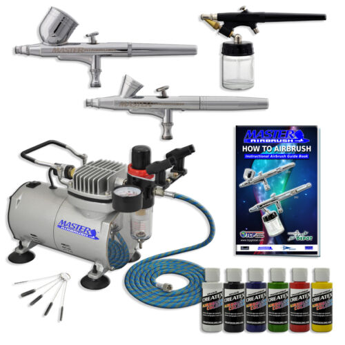 New 3 Airbrush Kit 6 Primary Colors Air Compressor Dual-Action Createx Hobby Set in Crafts, Art Supplies, Airbrushing | eBay
