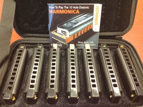 New 7 PACK Hohner BLUES A Bb C D E F G Keys HARMONICAS Set CASE FREE Lesson BOOK in Musical Instruments & Gear, Harmonica, Contemporary | eBay