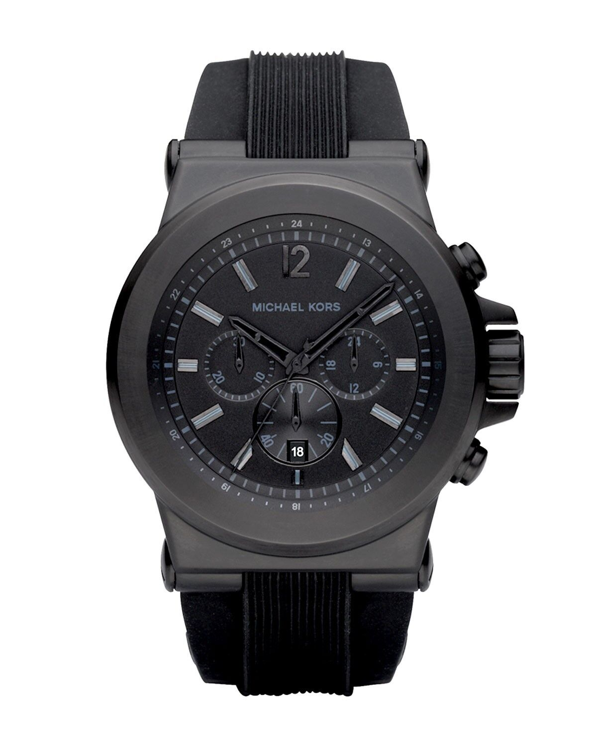 New Authentic Michael Kors Black Silicone Chronograph Mens Watch MK8152
