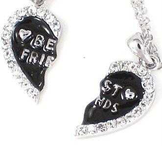 New BBF BEST FRIEND Heart Black 2 Pendants 2 Necklaces Friendship Fast
