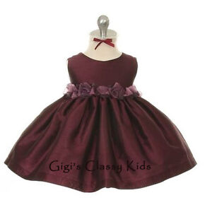 New Baby Eggplant Purple Flower Girls Dress Easter Party