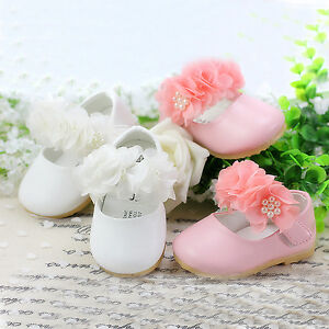 New Baby Girls Christening Shoes in White Pink from 3 6