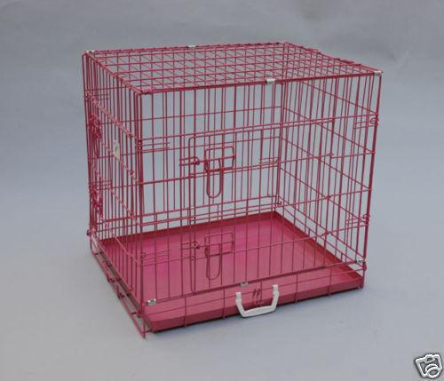 24 x 20 x 23 Pink Pet Folding Dog Cat Crate Cage w Metal Pan