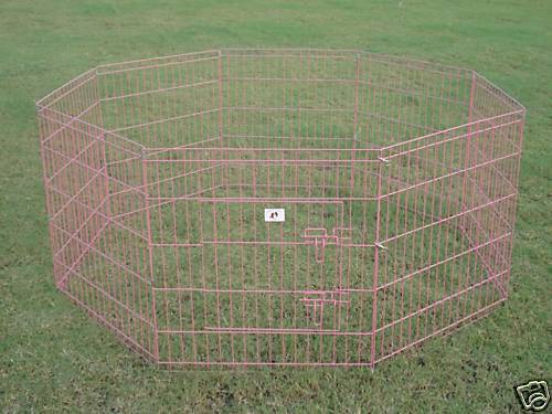 """New BestPet 30"""" Pink Pet Dog Cat Play Exercise Pen Fence w Case 4P Playpen Crate"""