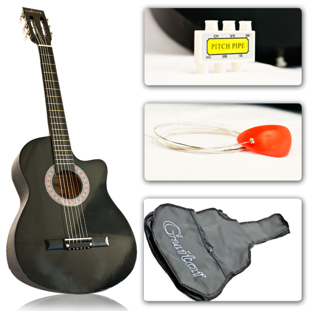 New Black Acoustic Guitar Cutaway Design With Guitar Case, Strap, Tuner and Pick