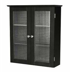new black bathroom wall cabinet with two glass doors free shipping