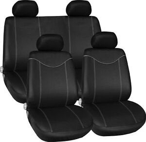 new black grey trim fabric interior protection low back car seat covers set ebay. Black Bedroom Furniture Sets. Home Design Ideas