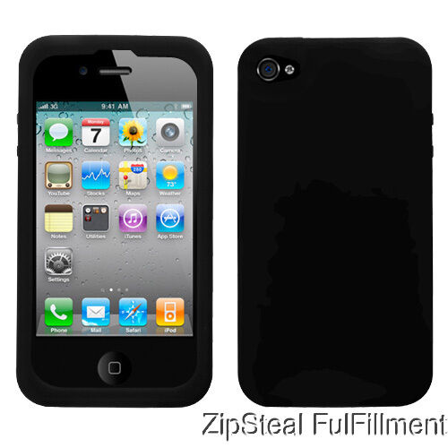 New Black Rubber Gel Soft Silicone Case Cover Skin for Apple iPhone 4 4g 4s in Cell Phones & Accessories, Cell Phone Accessories, Cases, Covers & Skins | eBay