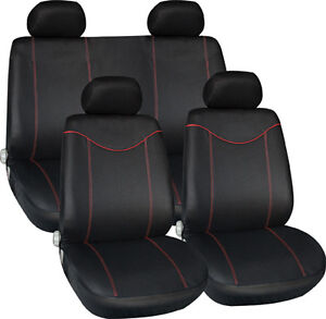 new black with red trim fabric interior protection low back car seat covers set ebay. Black Bedroom Furniture Sets. Home Design Ideas
