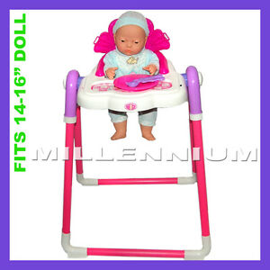 New Born Baby Doll High Chair Feeding Table Childrens Role