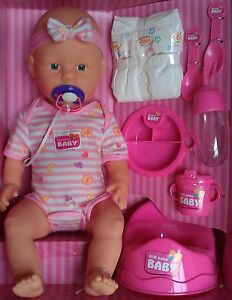 new born baby puppe trink n ssfunktion 43cm zubeh r t pfchen flasche windel ebay. Black Bedroom Furniture Sets. Home Design Ideas