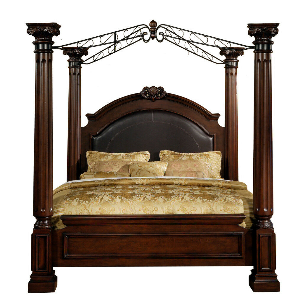 montecito ii king canopy poster leather bed bedroom