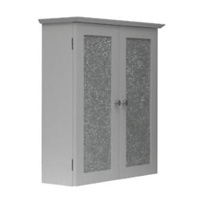 New Buckingham Bathroom Wall Cabinet W 2 Mosaic Glass Doors White Ebay