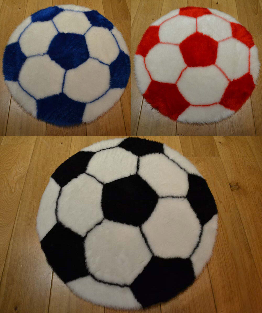 Furry Machine Washable Childrens Football Rugs Mats For