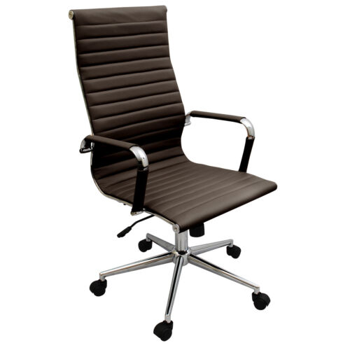 New Coffee Brown Modern Executive Ribbed High Back Ergonomic Office Chair in Business & Industrial, Office, Office Furniture | eBay