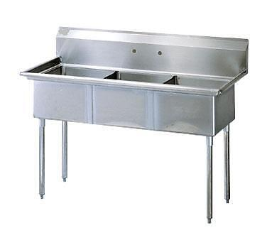 Commercial Sink 3 Compartment : Commercial Stainless Steel (3) Three Compartment Sink 59 x 24 New