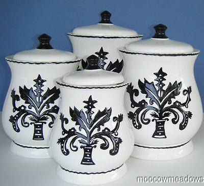 Ceramic black white canister set kitchen decor damask accent - White ceramic canisters for the kitchen ...