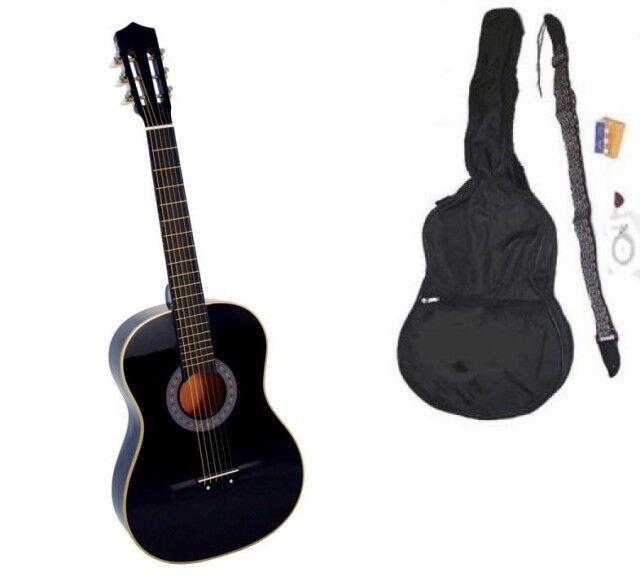 New Crescent Beginner BLACK Acoustic Guitar+Gigbag+Strap+Tuner+Lesson+Pick