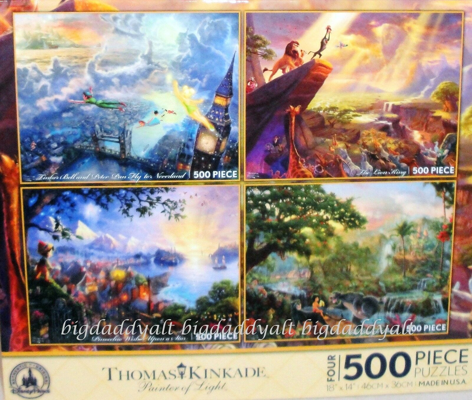 New Disney Thomas Kinkade Puzzle 500 Piece Set Of 4