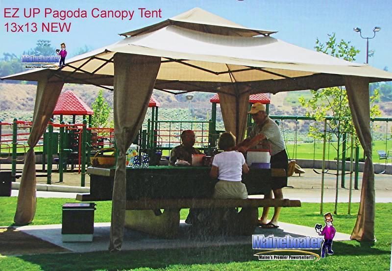 New EZ UP Pagoda Tan 13 x 13 Gazebo Cabana Canopy Tent   eBay