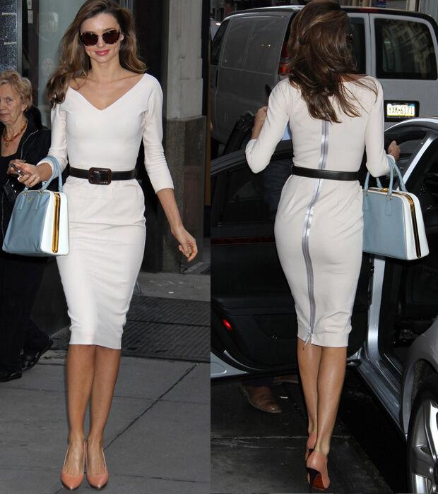 New Elegant White V Neck Slim Open Back Career Women Dresses Dress With Belt