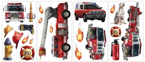 New FIRE TRUCKS WALL DECALS Fireman Bedroom Stickers Kids Red Decor Decorations in Home & Garden, Kids & Teens at Home, Bedroom, Playroom & Dorm Decor | eBay