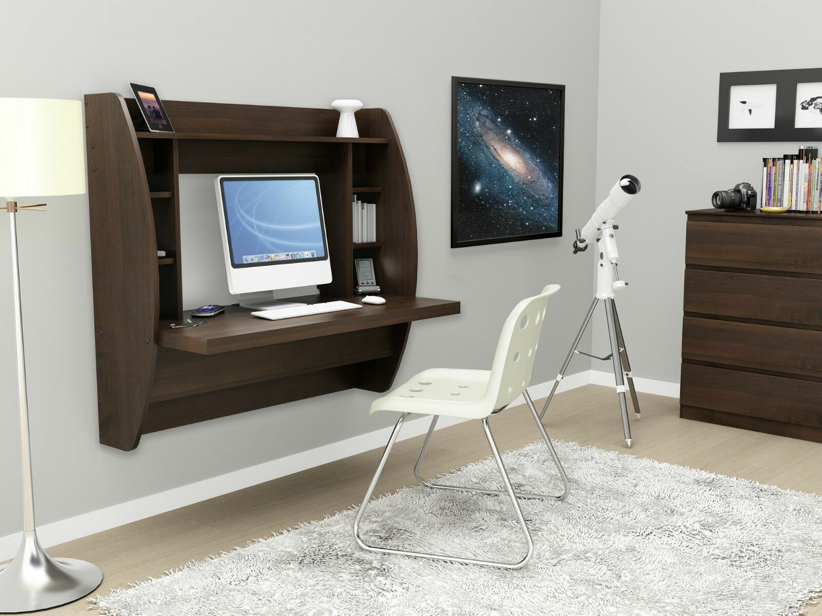 about new floating wall design desk w storage computer ez mount