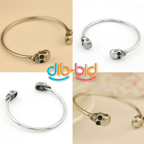 New Fashion Color Jewelry Metal Alloy Skull Bangle Retro Cool Cuff Bracelet