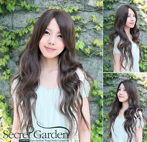 New-Fashion-Dark-brown-Long-straight-womens-Girl-full-Hair-Wig-cosplay-wig