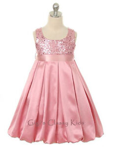 Girls pink fancy sequined dress size 2 14 party flower girl christmas