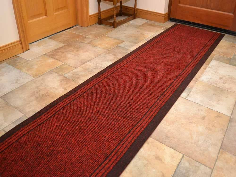 New Heavy Duty Non Slip Rubber Backed Red Hall Runners